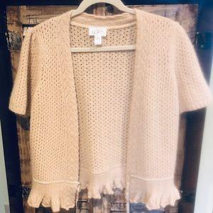 Ann Taylor LOFT  tan short sleeve sweater large